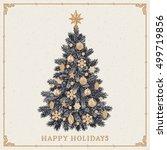 christmas tree. vintage...   Shutterstock .eps vector #499719856