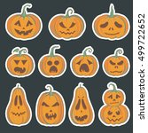 halloween stickers with carved... | Shutterstock .eps vector #499722652