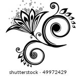 floral abstraction in black and ... | Shutterstock .eps vector #49972429