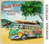 costa rica retro poster. | Shutterstock .eps vector #499735276