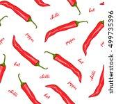 seamless pattern red hot chilli ... | Shutterstock .eps vector #499735396