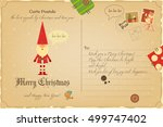 vintage postcard with christmas ...   Shutterstock .eps vector #499747402