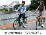 portrait of happy young couple... | Shutterstock . vector #499751542