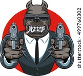 dog in suit aiming with guns  | Shutterstock .eps vector #499760302
