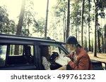 woman adventure get lost... | Shutterstock . vector #499761232