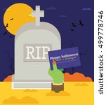 tomb stone zombie hand from... | Shutterstock .eps vector #499778746