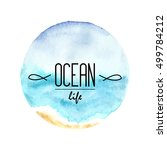 watercolor sea circle painting... | Shutterstock .eps vector #499784212
