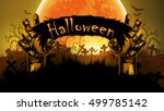 halloween background with a... | Shutterstock .eps vector #499785142