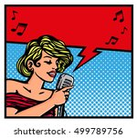 cute pop art blond female... | Shutterstock .eps vector #499789756
