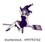 sexy cute pin up girl in witch... | Shutterstock .eps vector #499792762