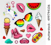 vector set of stickers badges... | Shutterstock .eps vector #499794106