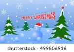 merry christmas with snowman on ... | Shutterstock .eps vector #499806916
