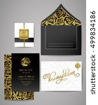 set of gold and black floral... | Shutterstock .eps vector #499834186