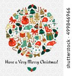 christmas round greeting card... | Shutterstock .eps vector #499846966