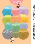 calendar for the year 2017  ... | Shutterstock .eps vector #499848682