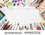 watercolor and oil paints ... | Shutterstock . vector #499852528
