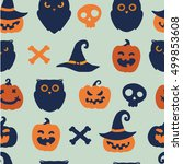 halloween seamless pattern | Shutterstock .eps vector #499853608