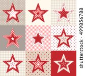 set of red and blue patchwork... | Shutterstock .eps vector #499856788