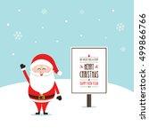 santa claus happy wave merry... | Shutterstock .eps vector #499866766