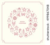 red christmas line icons border ... | Shutterstock .eps vector #499867048