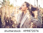 outdoor fashion photo of young... | Shutterstock . vector #499872076