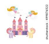 cute pink fantasy castle vector ... | Shutterstock .eps vector #499876522