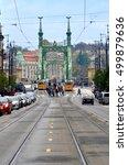 "Small photo of November 9, 2013. Hungary, Budapest. Tram station near the bridge ""Freedom""."
