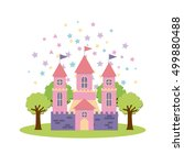cute pink fantasy castle vector ... | Shutterstock .eps vector #499880488
