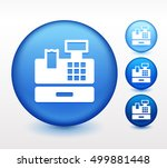 cash register on blue round... | Shutterstock .eps vector #499881448