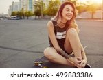 beautiful young girl with... | Shutterstock . vector #499883386