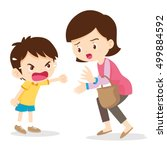 boy angry shouting with mother... | Shutterstock .eps vector #499884592
