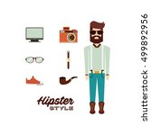 male avatar with hipster style... | Shutterstock .eps vector #499892956