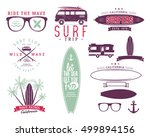 set of vintage surfing graphics ... | Shutterstock . vector #499894156