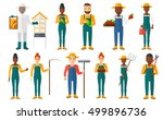 set of farmers using... | Shutterstock .eps vector #499896736