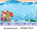 cartoon vector underwater... | Shutterstock .eps vector #499897555