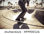 skater boy practicing at the... | Shutterstock . vector #499900126