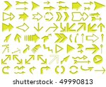 arrows set yellow isolated on... | Shutterstock . vector #49990813