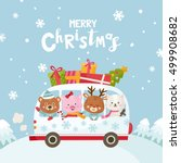merry christmas greeting card.... | Shutterstock .eps vector #499908682