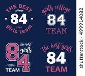 the best girls team college... | Shutterstock .eps vector #499914082