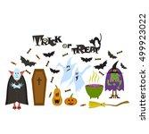 set of halloween characters.... | Shutterstock .eps vector #499923022