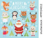 set of funny christmas... | Shutterstock .eps vector #499924012