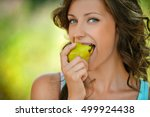 beautiful young woman close up... | Shutterstock . vector #499924438