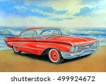 red retro car and sea  painting ...   Shutterstock . vector #499924672