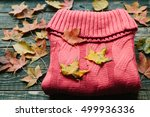 warm knitted sweater and autumn ... | Shutterstock . vector #499936336