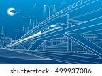 train move on the bridge  night ... | Shutterstock .eps vector #499937086
