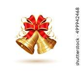 golden christmas bells with red ... | Shutterstock .eps vector #499942468
