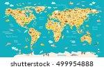animal map for kid. world... | Shutterstock .eps vector #499954888