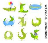 vector set with cute cartoon... | Shutterstock .eps vector #499955125