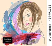 paintings  women's fashion.hand ... | Shutterstock .eps vector #499991395