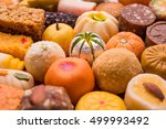 indian sweet food in red... | Shutterstock . vector #499993492